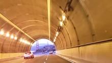 November 6, 2018. Driving Through Waldo Tunnel In California, Evening Time. Getting Nice Evening View Of Golden Gate Bridge.