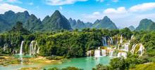 Detian Falls In Guangxi, China And Banyue Falls In Vietnam..