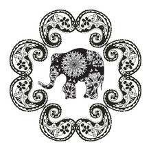 Black And White Elephant Vector Poster With Indian Tribal Patterns And Ornament Frame Isolated On White Background