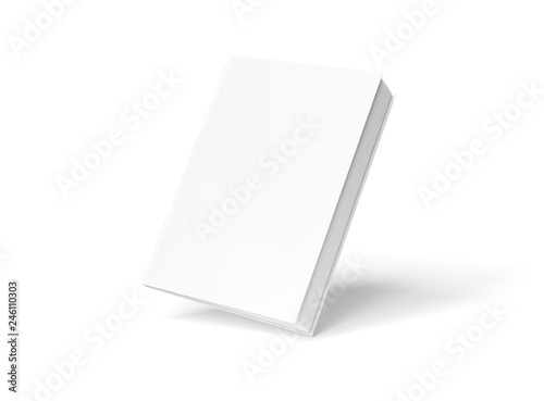 Fototapeta  Blank hardcover book mockup floating on white 3D rendering