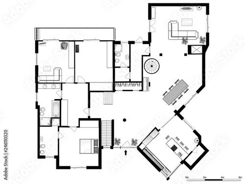 Photo 2d floor plan. Black&white floor plan.