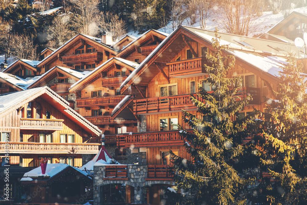 Fototapeta chalets at Meribel ski resort in Alps, France
