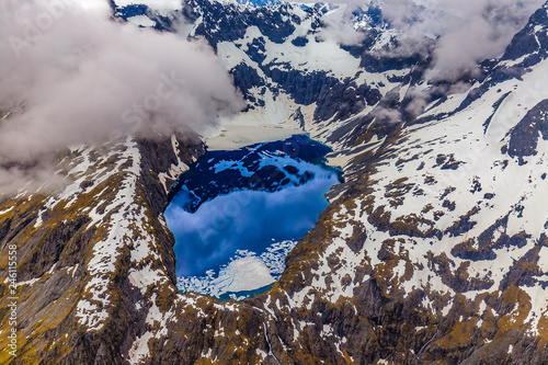 Foto op Plexiglas Oceanië New Zealand, South Island. Fiordland National Park. Lake Erskine from above