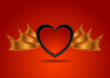 Red Black Hearts With Bronze Wings Abstract Background