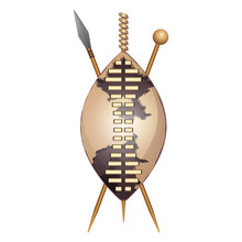 Zulu Shield, Ethnic African Weapon, Club And Spear
