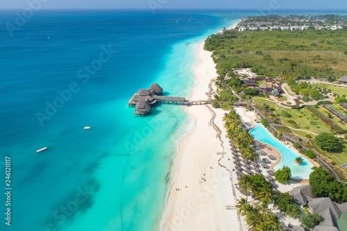 Foto auf Leinwand Sansibar aerial view to paradise beach on Zanzibar