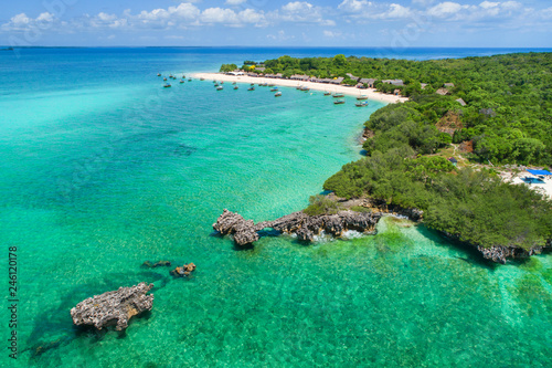 stones in emerald water and view to paradise island on Zanzibar