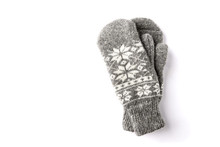 Warm Mittens Isolated On White...