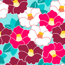 Floral Pattern. Camellia. Ornament With Oriental Motifs. Vector.