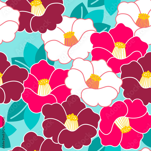 Canvas Print Floral pattern. Camellia. Ornament with oriental motifs. Vector.