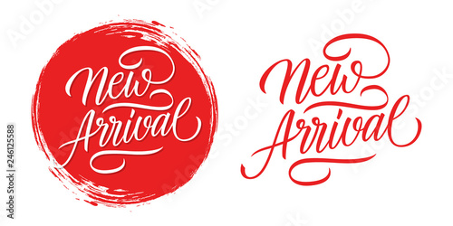 Fotografía  New Arrival handwritten inscription with red circle brush stroke background