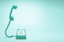 Retro Green Telephone On Teal ...