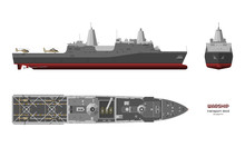 Detailed Image Of Military Ship. Top, Front And Side View. Battleship 3d Model. Industrial Isolated Drawing Of USS Boat. Warship In Realistic Style