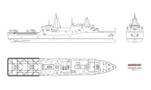 Outline Image Of Military Ship. Top, Front And Side View. Battleship 3d Model. Industrial Isolated Drawing Of Boat. Warship USS