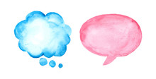 Set Of Watercolor Speech Bubbl...