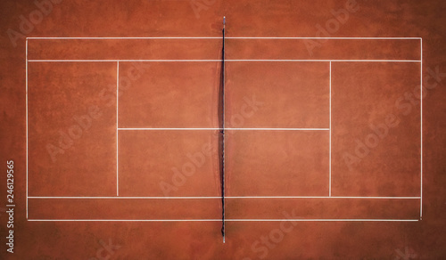 Tennis Clay Court. View from the bird's flight. Aerial photography