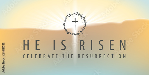 Photo Vector Easter banner with words He is risen, Celebrate the resurrection, with a