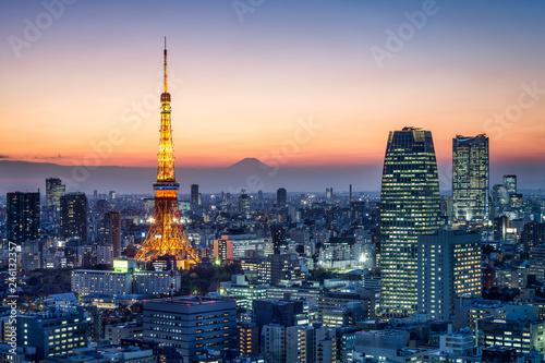 In de dag Aziatische Plekken Tokyo Tower und Berg Fuji, Tokio, Japan