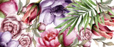 Floral watercolor background Vector. BEautiful peony, roses and tropic leaves. Detailed painted styles - 246133951