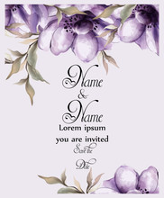 Purple Flowers Card Watercolor Vector. Wedding Invitation Ceremony. Spring Trendy Painted Decors