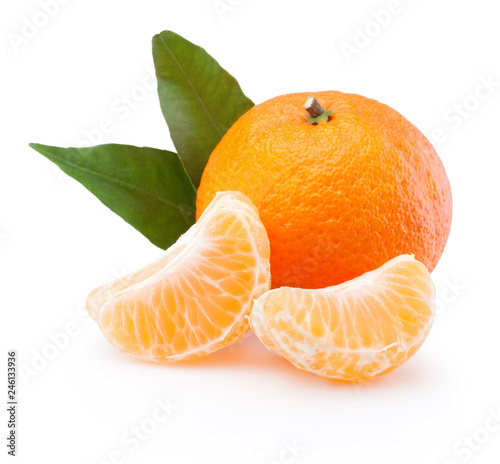 Tangerine with leaf and peeled slices isolated on white background