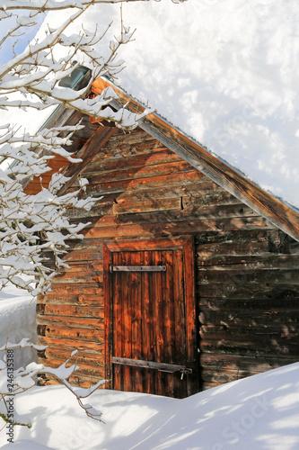 Fotografie, Obraz  Allgäu - Stadel - Hütte - Schnee - urig - Chalet