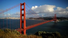 Timelapse Aerial View Of San Francisco Golden Gate Bridge And Container Ship Day