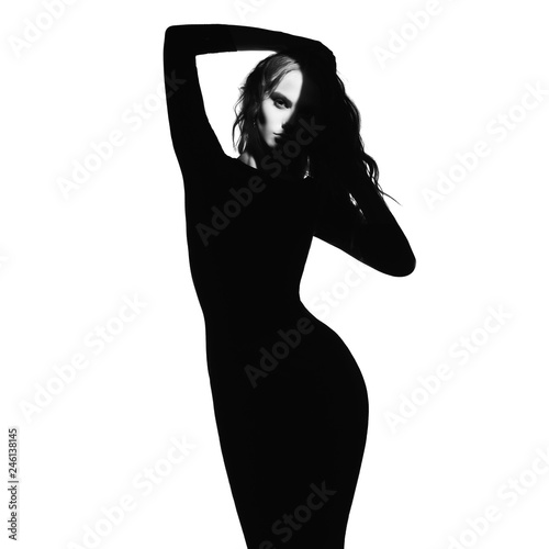 Küchenrückwand aus Glas mit Foto womenART Black and white fashion portrait of beautiful lady