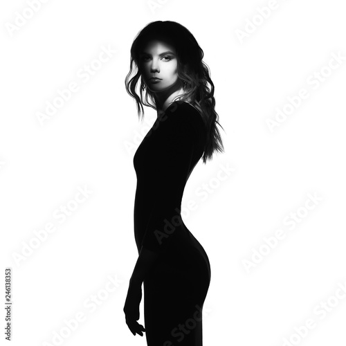 Küchenrückwand aus Glas mit Foto womenART Black and white fashion portrait of beautiful lady