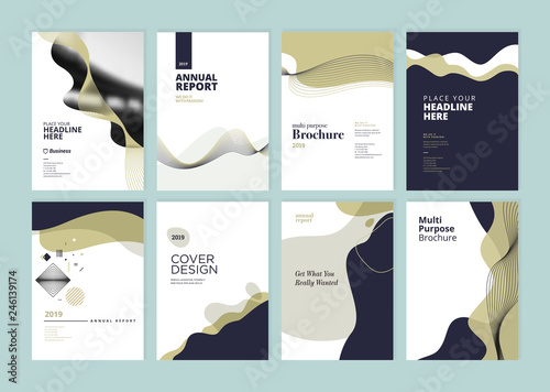 Staande foto Hoogte schaal Set of brochure, annual report, flyer design templates in A4 size. Vector illustrations for business presentation, business paper, corporate document cover and layout template designs.