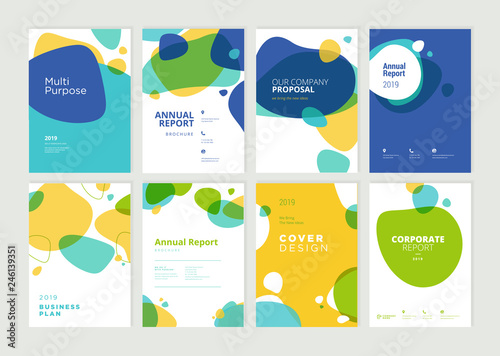 Fototapeta Set of brochure, annual report, flyer design templates in A4 size. Vector illustrations for business presentation, business paper, corporate document cover and layout template designs. obraz