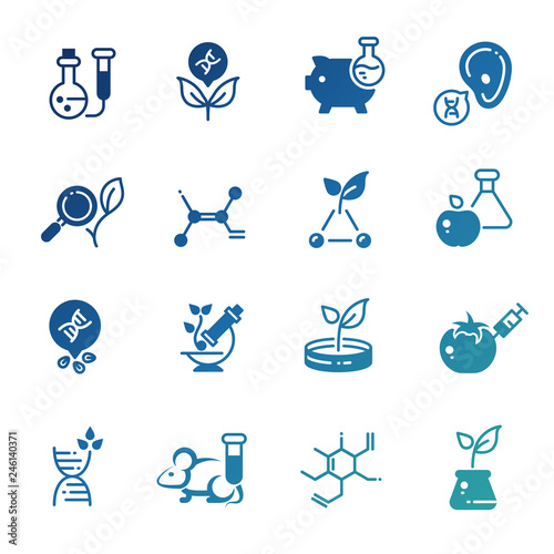 Fotografía  Set of icons of genetic modification biotechnology and dna research