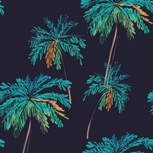 Floral Seamless Pattern. Summer Tropical Palm Trees Background. Jungle Print With Gold Glitter Elements