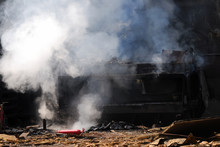 Fire, Hall, Industrial, Smoke,...
