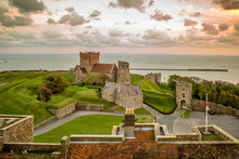 St Mary In Castro Church In The Grounds Of Dover Castle, Viewed From The Top Of The Dover Castle, England