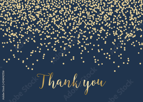 Photo  Golden Confetti Thank You Card Template