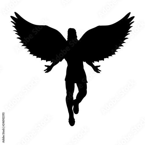 Fotografiet Flying man angel silhouette mythology symbol fantasy tale