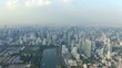 Panorama of Bangkok central business downtown. Beautiful aerial view of big city life.