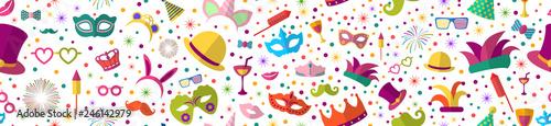 Celebration festive background with seamless pattern carnival icons Fototapete
