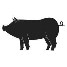 Pig Black Silhouette. Vector Flat Icon Of Farm Animal Isolated On White Background.