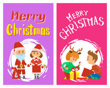Merry Christmas Holidays, Children Opening Presents, Santa Claus And Snow Maiden, Vector Characters In Round Brush Frame. Girl Wearing Reindeer Horns Accessories