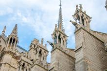 Gargoyles Protruding From Flying Buttresses Of Notre Dame De Paris