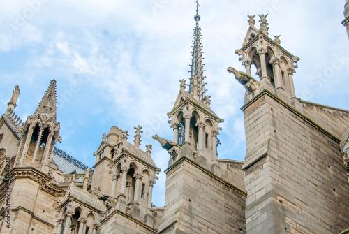Gargoyles Protruding from Flying Buttresses of Notre Dame de Paris Tapéta, Fotótapéta