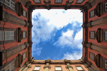 Observing The Sky From The Courtyard Of An Ancient Palace