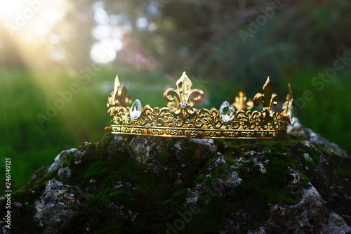 tajemnicze i magiczne zdjęcie złotej korony króla nad kamieniem pokrytym mchem w angielskim lesie lub polem krajobrazowym z lekkim rozbłyskiem. Koncepcja okresu średniowiecza.