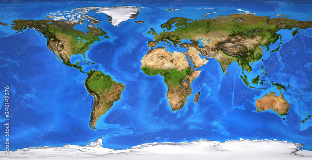 High resolution flat world map in summer Foto, Poster ...