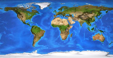 High resolution flat world map in summer