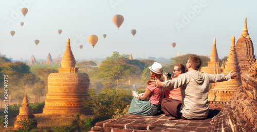 Fotografie, Obraz  Happy tourists, friends, vacationers in the summer holidays in Asia
