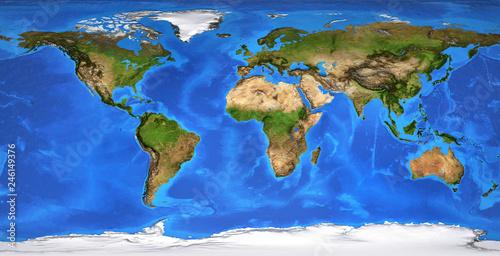 Obraz High resolution flat world map in summer - fototapety do salonu