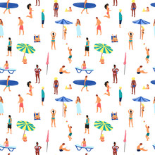 Hand Drawn Digital Illustration Seamless Pattern Background With Figures Of People On The Beach In Simple Design